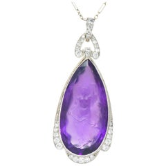Edwardian Diamond Carved Amethyst Cameo Platinum Pendant Necklace