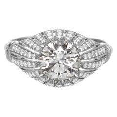 Edwardian Diamond Cocktail Ring GIA Certified 1.11 Carat Chavana Collection