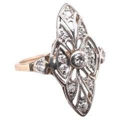 Edwardian Filigree Two-Toned Diamond Cocktail Ring