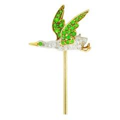 Edwardian Diamond Demantoid Garnet Platinum-Topped 18 Karat Gold Goose Stickpin