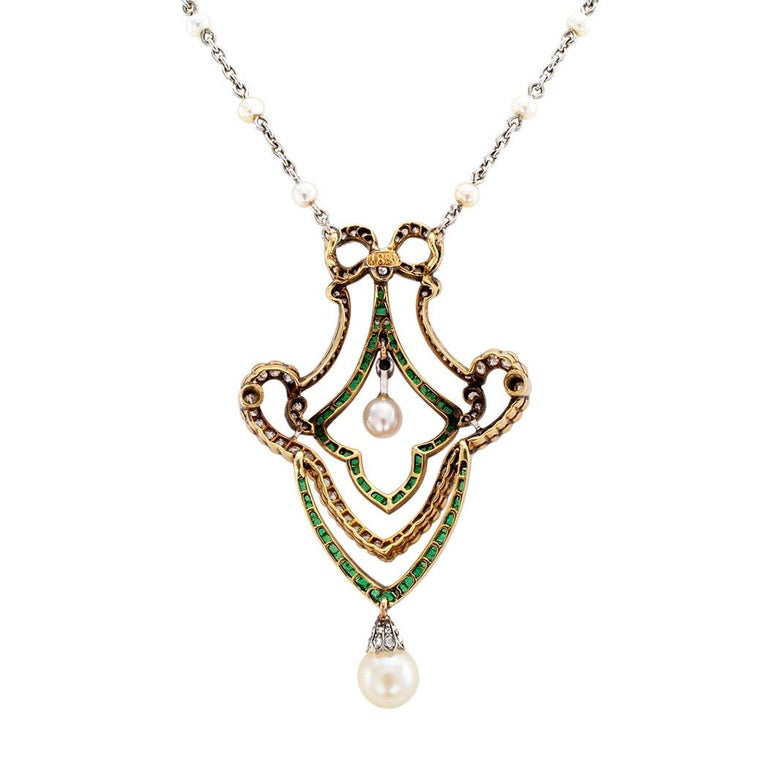 Edwardian Diamond Emerald Pearl Gold Platinum Brooch Necklace For Sale 1