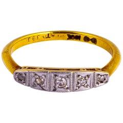 Edwardian Diamond Five-Stone 18 Carat Gold Ring