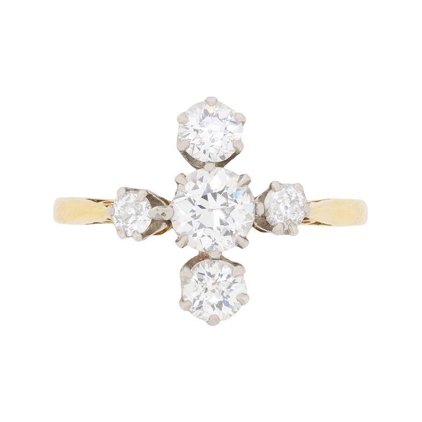 Edwardian Diamond Five-Stone Cluster Ring, circa 1910