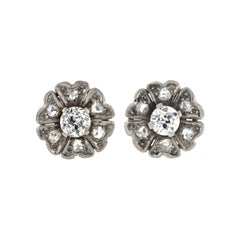 Edwardian Diamond Flower Stud Earrings
