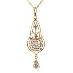 Edwardian Diamond Gold Pendant