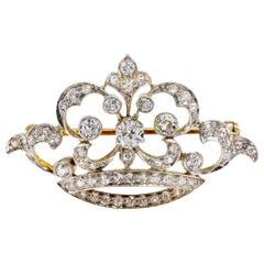 Edwardian Diamond Gold Platinum Crown Brooch