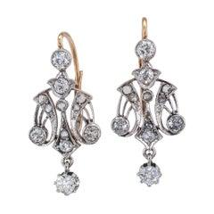 Edwardian Diamond Gold Platinum Drop Earrings