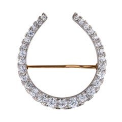 Edwardian Diamond Gold Platinum Horseshoe Brooch