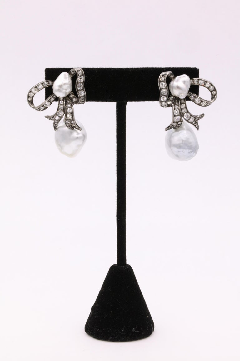 Edwardian Diamond Keshi South Sea Pearl Earrings Platinum In Excellent Condition For Sale In New York, NY