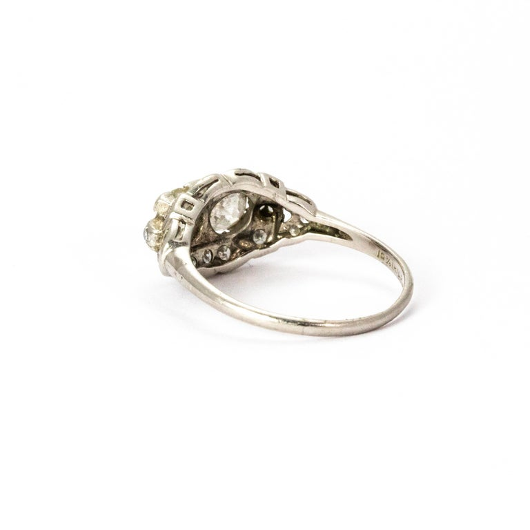 Old European Cut Certified Art Deco Diamond Moi Et Toi Platinum Ring For Sale