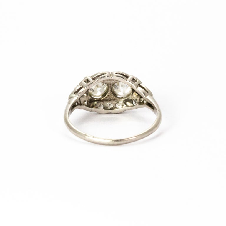 Certified Art Deco Diamond Moi Et Toi Platinum Ring In Good Condition For Sale In Chipping Campden, GB