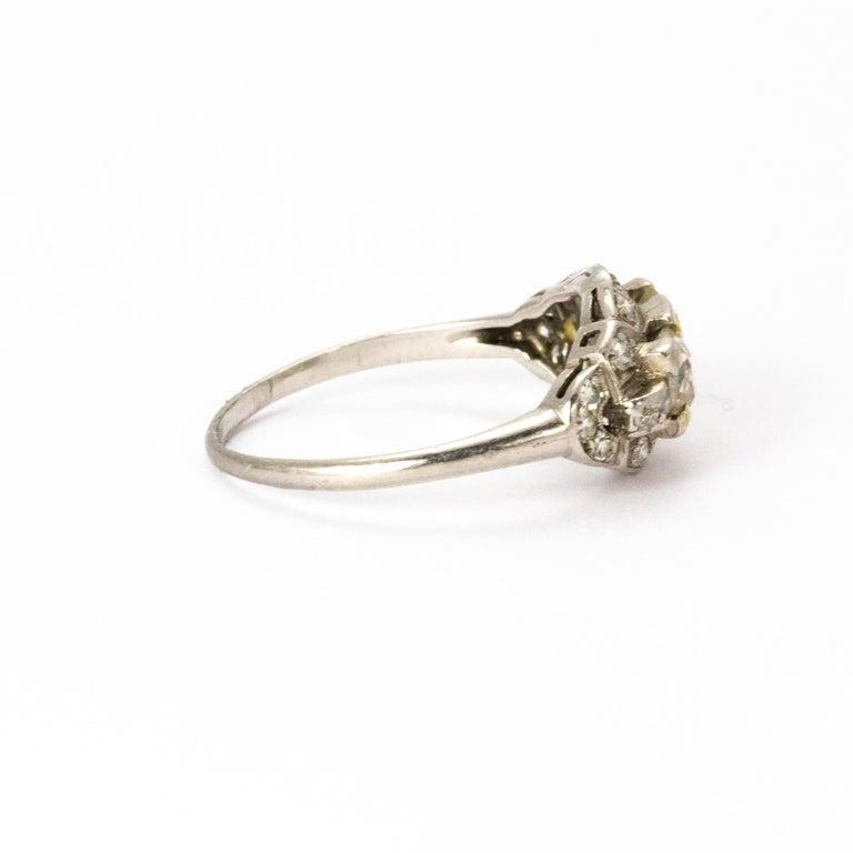 Women's or Men's Certified Art Deco Diamond Moi Et Toi Platinum Ring For Sale