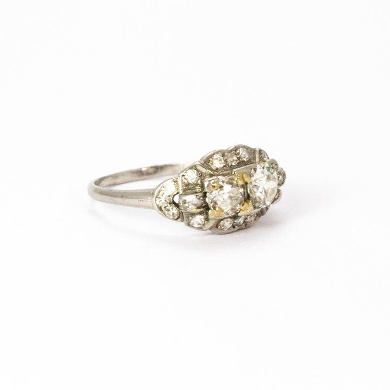 Certified Art Deco Diamond Moi Et Toi Platinum Ring For Sale 1