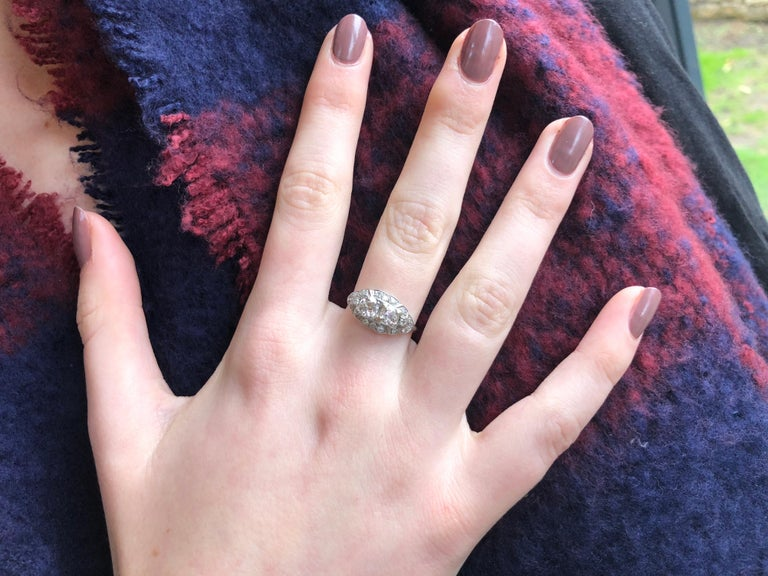 Certified Art Deco Diamond Moi Et Toi Platinum Ring For Sale 2