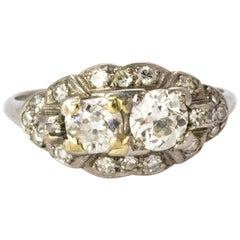 Certified Art Deco Diamond Moi Et Toi Platinum Ring