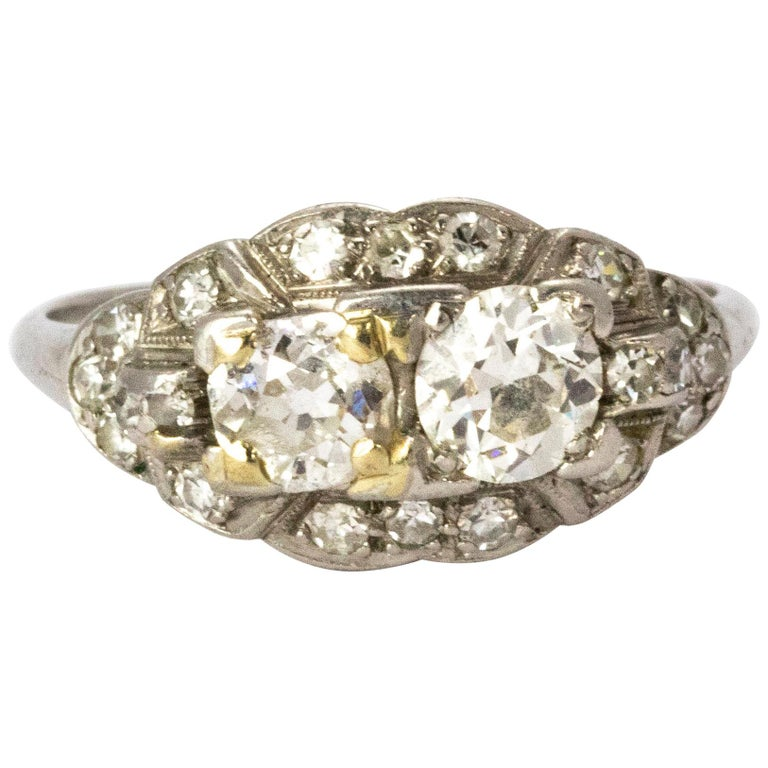 Certified Art Deco Diamond Moi Et Toi Platinum Ring For Sale