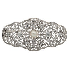 Edwardian Diamond Natural Pearl Platinum Large Statement Brooch