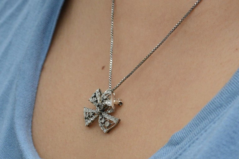 Rose Cut Edwardian Diamond Necklace Bow Pendant Antique Belle Époque Platinum Filigree For Sale