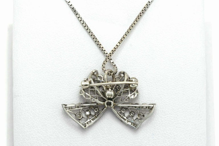 Edwardian Diamond Necklace Bow Pendant Antique Belle Époque Platinum Filigree In Good Condition For Sale In Santa Barbara, CA