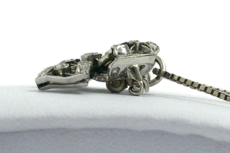 Women's Edwardian Diamond Necklace Bow Pendant Antique Belle Époque Platinum Filigree For Sale