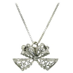 Edwardian Diamond Necklace Bow Pendant Antique Belle Époque Platinum Filigree