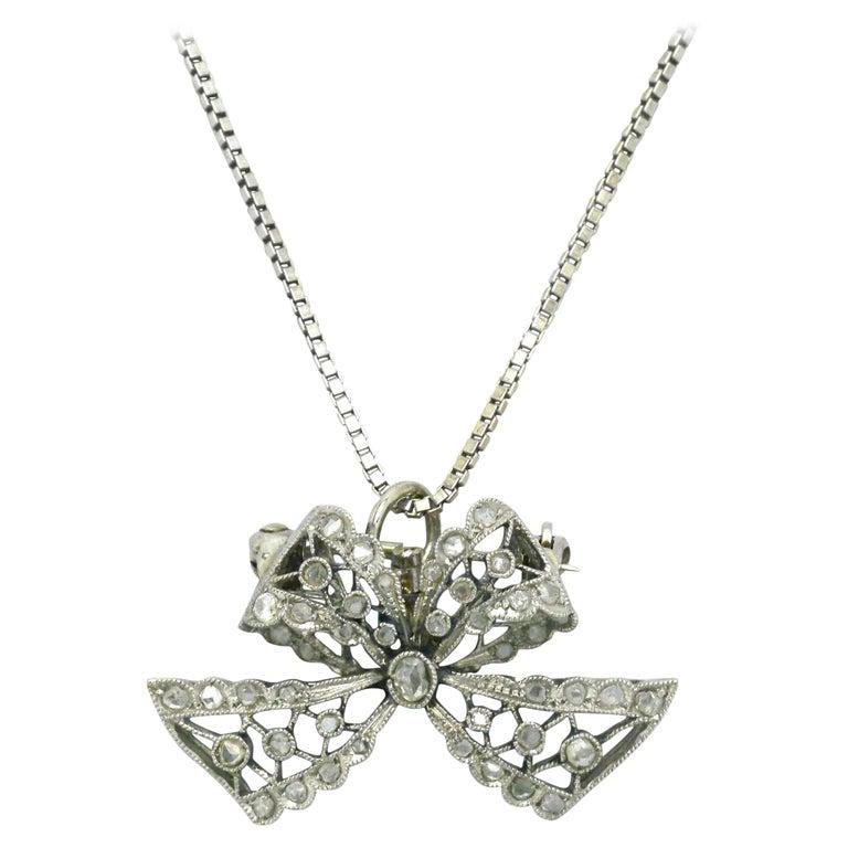 Edwardian Diamond Necklace Bow Pendant Antique Belle Époque Platinum Filigree For Sale