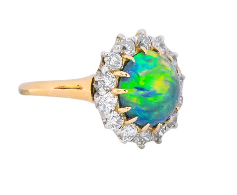 Edwardian Diamond Opal Platinum 18 Karat Gold Ring GIA In Excellent Condition In Philadelphia, PA