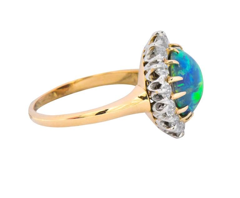 Women's or Men's Edwardian Diamond Opal Platinum 18 Karat Gold Ring GIA