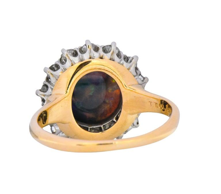 Edwardian Diamond Opal Platinum 18 Karat Gold Ring GIA 1