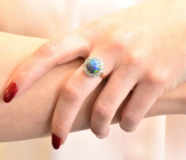 Edwardian Diamond Opal Platinum 18 Karat Gold Ring GIA 2