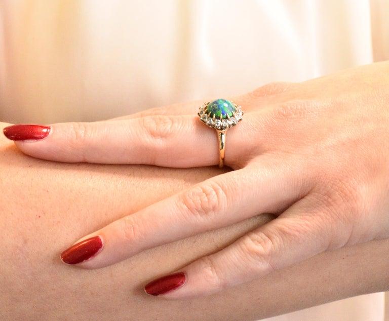 Edwardian Diamond Opal Platinum 18 Karat Gold Ring GIA 3