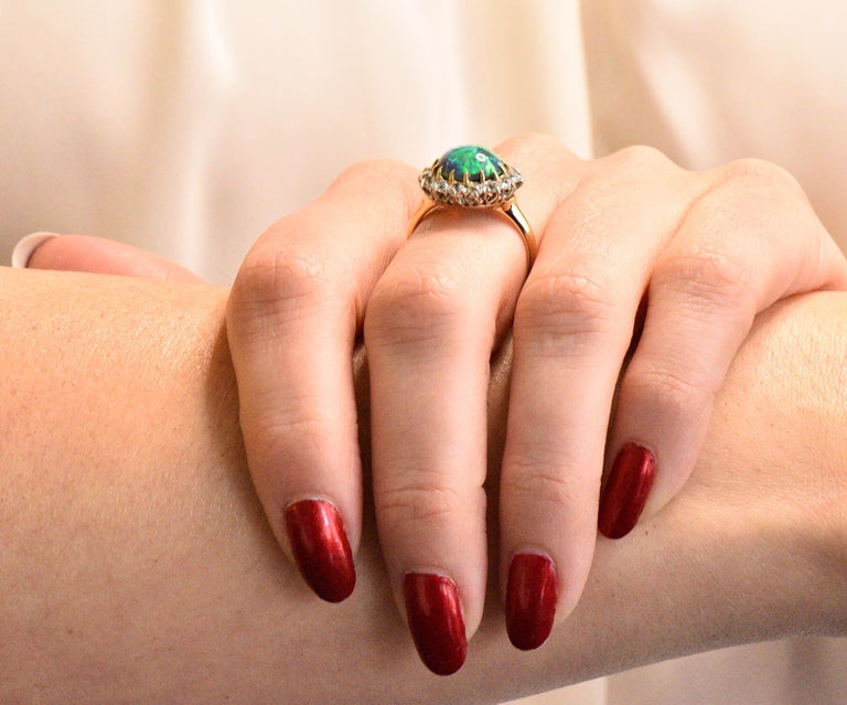 Edwardian Diamond Opal Platinum 18 Karat Gold Ring GIA 4