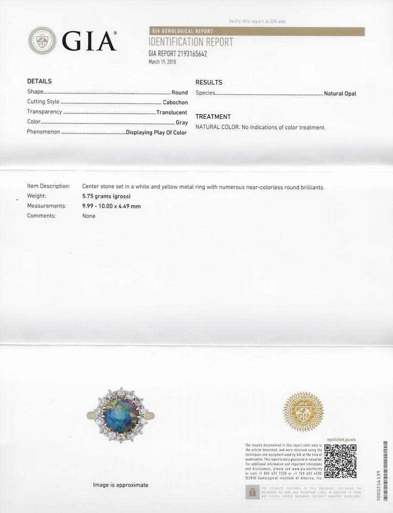 Edwardian Diamond Opal Platinum 18 Karat Gold Ring GIA 5