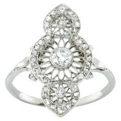 Edwardian Diamond Openwork Plaque Ring