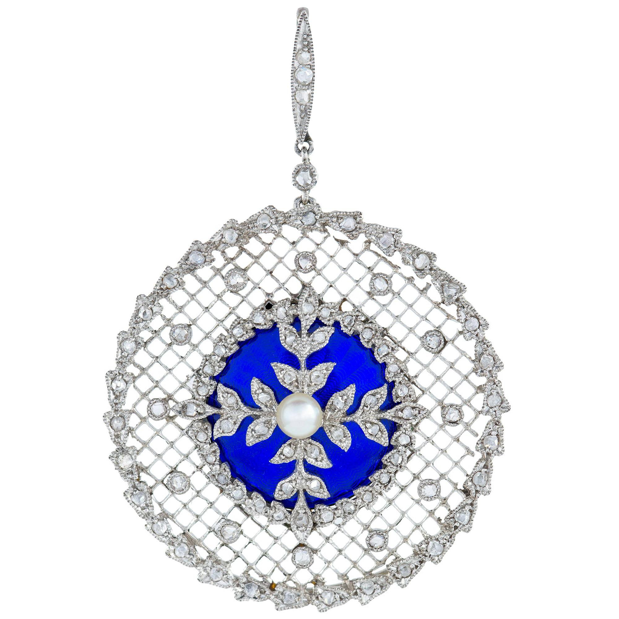 Edwardian Diamond, Pearl and Enamel Pendant