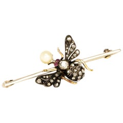 Edwardian Diamond, Pearl and Ruby Bug Brooch
