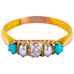 Edwardian Diamond, Pearl and Turquoise 18 Carat Gold Five-Stone Ring