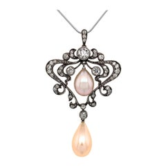 Edwardian Diamond Pearl Pendant