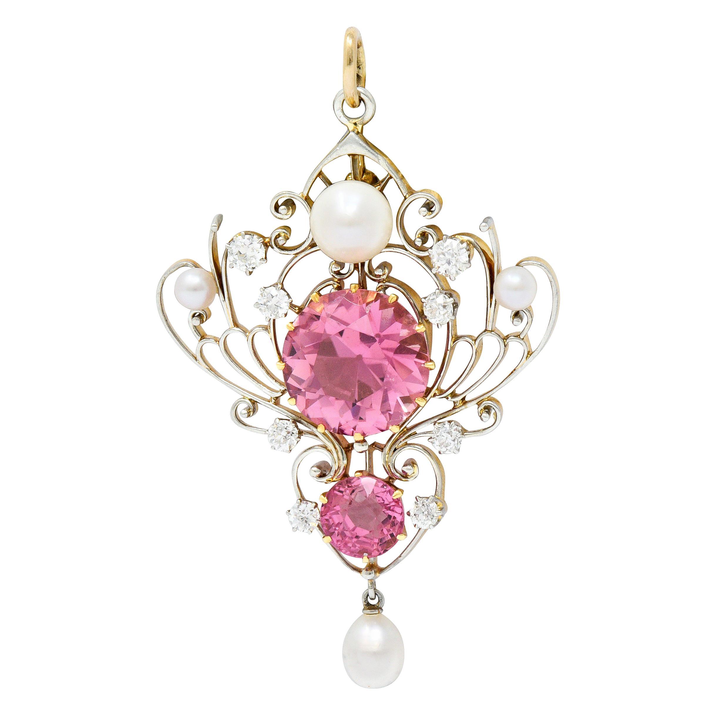 Edwardian Diamond Pearl Pink Tourmaline Platinum 18 Karat Gold Pendant