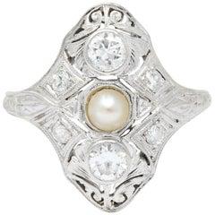 Edwardian Diamond Pearl Platinum 18 Karat White Gold Dinner Ring