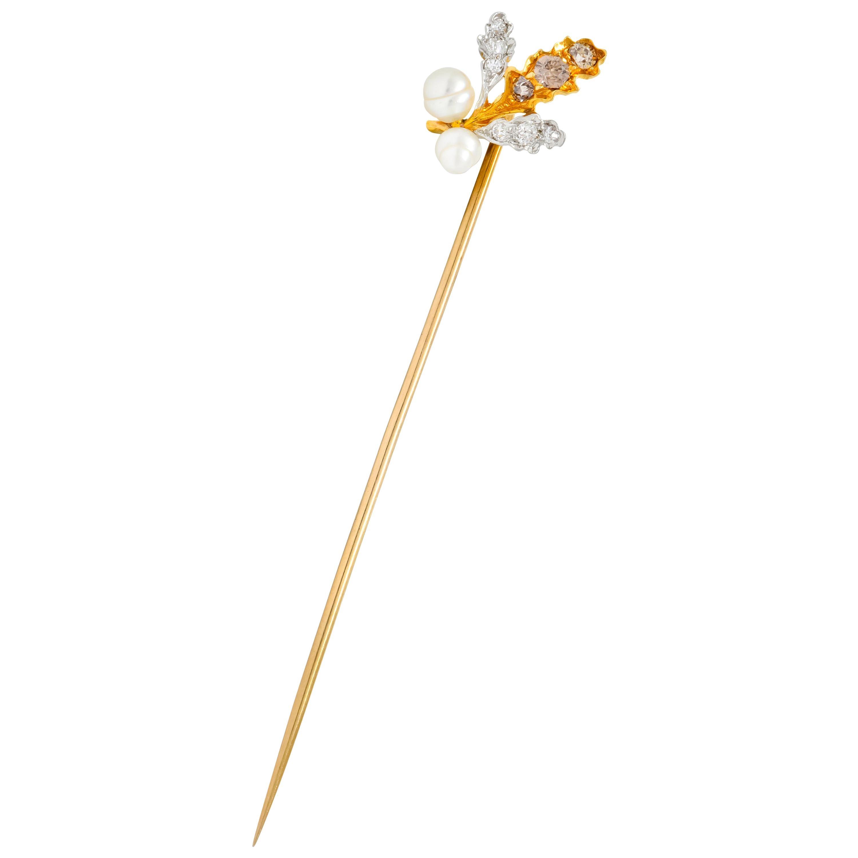 Edwardian Diamond Pearl Platinum-Topped 18 Karat Gold Foliate Stickpin