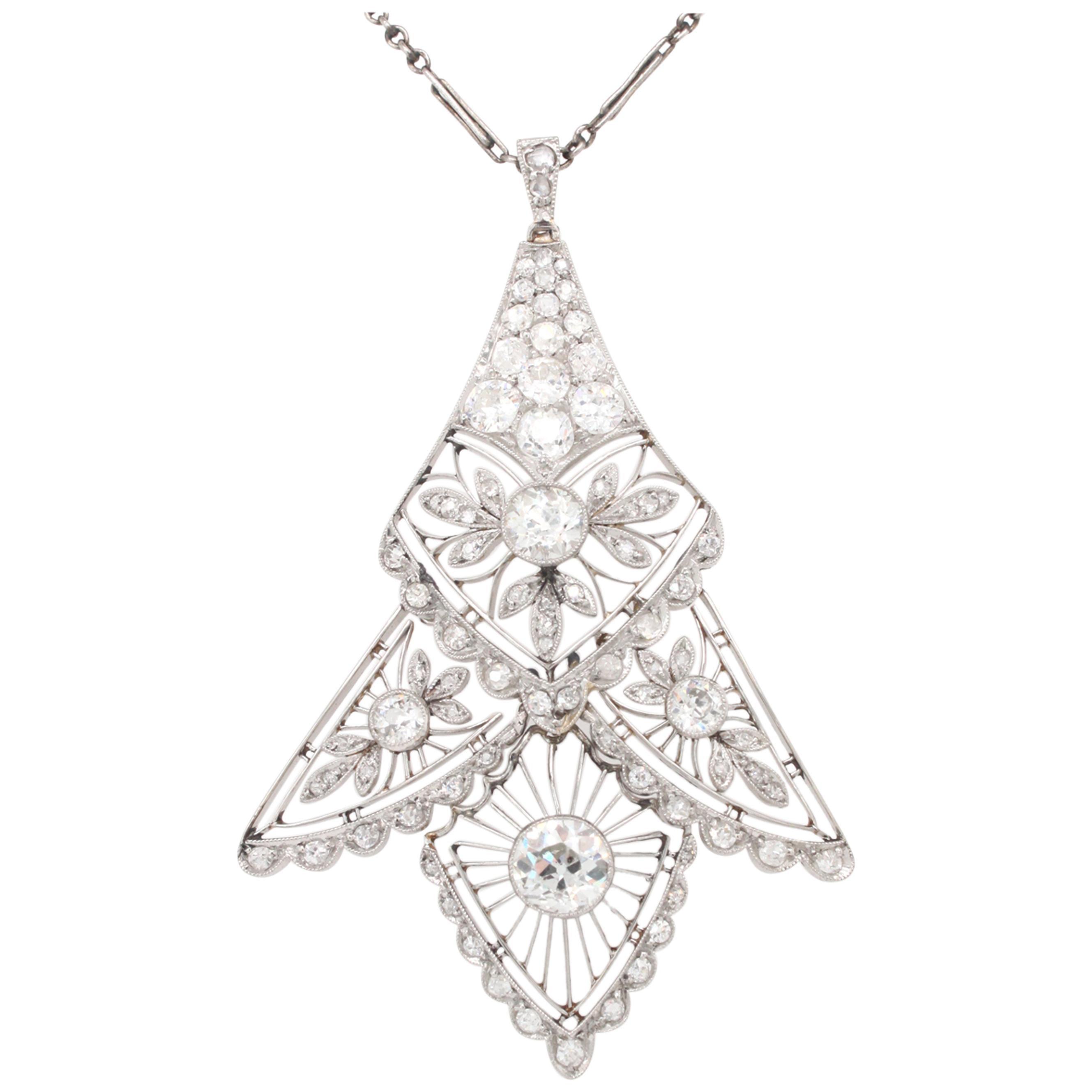 Edwardian Diamond Pendant, 1910s
