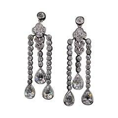 Edwardian Diamond Pendant Drop Earrings in Platinum