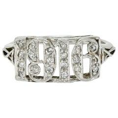 Edwardian Diamond Platinum 1916 Date Ring