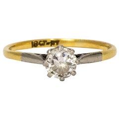 Edwardian Diamond Platinum and 18 Karat Yellow Gold Solitaire Ring