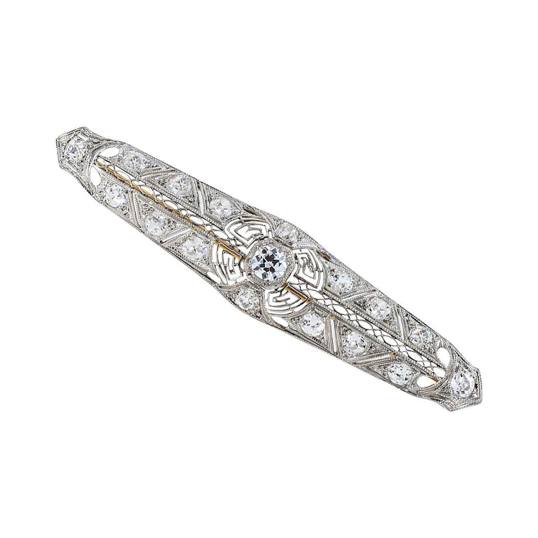 Edwardian Diamond Platinum Bar Brooch