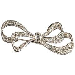 Edwardian Diamond Platinum Bow Brooch
