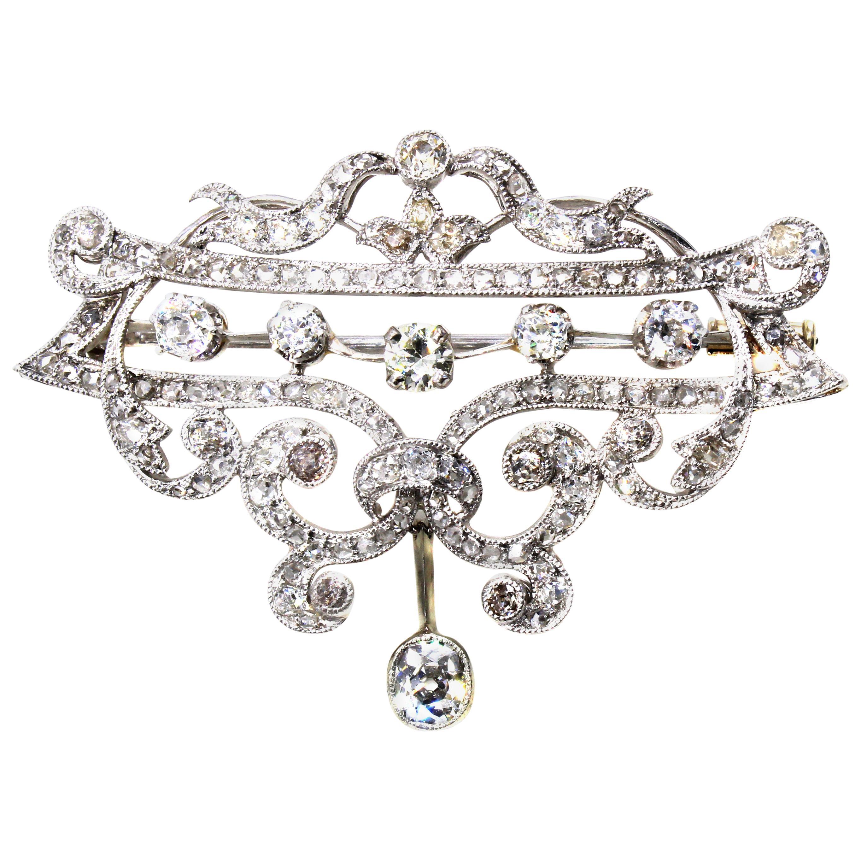 Edwardian Diamond Platinum Brooch