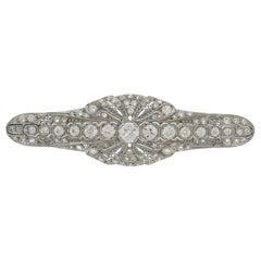 Edwardian Diamond Platinum Brooch Pin Clip, Art Deco Signed M. Bros.