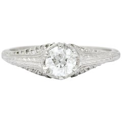 Edwardian Diamond Platinum Engagement Ring, circa 1915